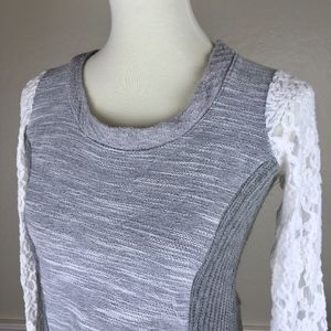 NEW ANTHROPOLOGIE Gray Mixed Media Sweater Size XS